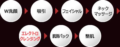 W洗顔→吸引→フェイシャル→ネックマッサージ→エレクトロクレンジング→肌別パック→整肌